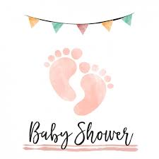 baby shower watercolor baby shower card with footprints vector free
