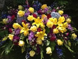 casket sprays yellow and purple casket spray in tx towne flowers