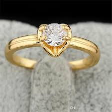 pretty gold rings images Pretty 18k yellow gold white gold plated aaa round cz heart ring jpg