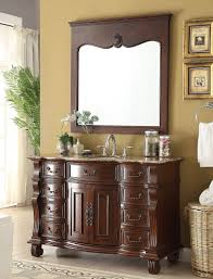 Antique Bathroom Mirrors by Adelina 50 Inch Antique Bathroom Vanity Brown Finish Brown Marble
