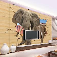 elephant wall murals promotion shop for promotional elephant wall custom 3d photo kids wallpaper lifelike animals wall mural elephant broken wall kids bedroom tv backdrop wall paper for walls