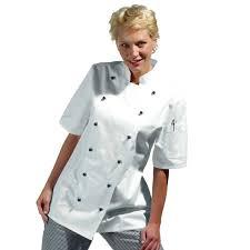tenue de cuisine pas cher veste de cuisine femme manches courtes cintrée coton sergé