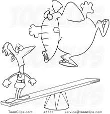 cartoon black and white line drawing of an elephant jumping on a