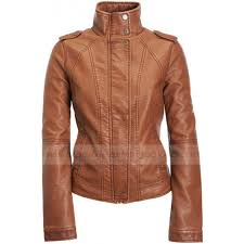 lightweight motorcycle jacket cognac faux leather jacket classic jacket for women