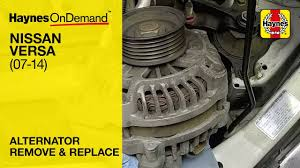 how to replace the alternator on a nissan versa 2007 2014 youtube