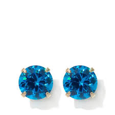 earrings for kids passport to gold kids 14k blue zircon color 86ctw cubic zirconia