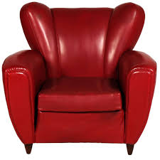 Red Club Chair Italian Mid Century Armchair Club Chair Art Deco Design Guglielmo