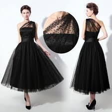 plus size black one shoulder tea length cocktail prom dresses