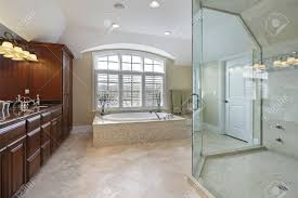 Large Bathroom Showers Large Master Bath With Spacious Glass Shower Stock Photo Picture