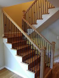 Wood Banisters And Railings Stair Railings With Black Wrought Iron Balusters And Oak Boxed