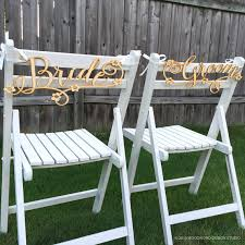 and groom chair signs wedding chair signs decoration groom with floral accents
