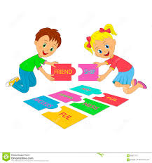 kids and puzzles stock vector image 65817372