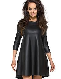 kartes moda skórzana sukienka tunika w kształcie litery a km119 sukienki