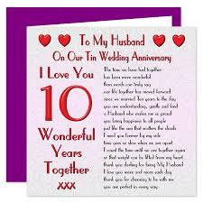 my husband 10th wedding anniversary card on our tin anniversary