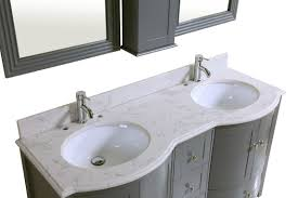 60 inch double grey bath vanity cabinet with mirror u0026 faucets 9309