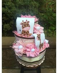 amazing deal on giraffe diaper cake pink brown giraffe