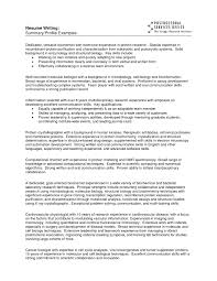 profile exles for resumes profile on resume exles resume for study