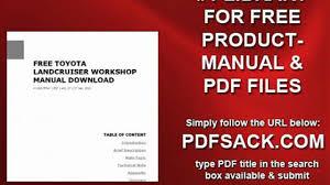 free toyota landcruiser workshop manual download video dailymotion