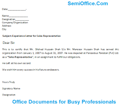 letter for sales representative