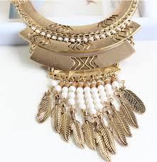 boho statement necklace images Boho fashion gold leaf bead statement long bib necklace wholesale jpg