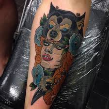 cool tattoo sleeves for girls fox head tattoo on leg calf