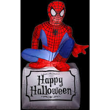 halloween spiderman costume gemmy 3 5 ft inflatable halloween spider man 55506x the home depot