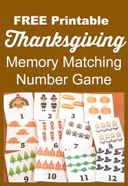free thanksgiving printable memory match number
