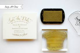 foil sted wedding invitations diy tutorial gold embossed save the dates