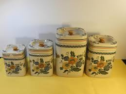 vintage stoneware canister set 4 yellow green decorative