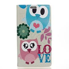 luxury cute owls wallet leather flip cover case for asus zenfone 3