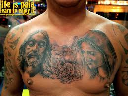 black and grey jesus u0026 saint mary tattoo on man chest by saksit