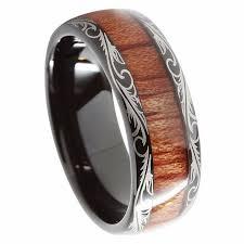 wood inlay wedding band queenwish 8mm black tungsten carbide ring koa wood inlay dome