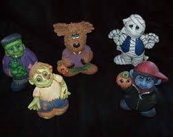 Lighted Ceramic Halloween Decorations by Halloween Ceramic Etsy