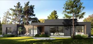 modern house flat roof house contemporary design house forest