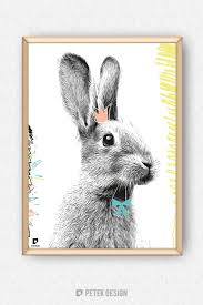 rabbit poster nursery bunny poster rabbit poster animal illustration