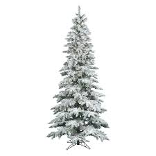 trees flocked white slim pre lit led