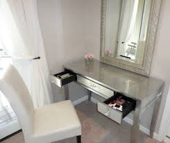 Glass Makeup Vanity Table Furniture Gorgeous Glass Makeup Vanity Table Featuring Chromed