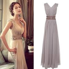 v neck long evening formal bridesmaid wedding ball gown prom party