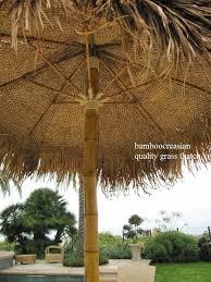 Tiki Patio Umbrella 9 Ft Asian Thatch Umbrella Solid Bamboo Frame Palapa Set 14 Ft