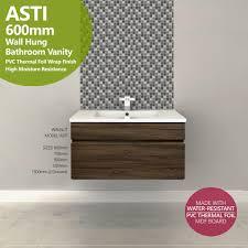 Bathroom Vanity 900mm by Asti 600mm Walnut Oak Pvc Thermal Foil Timber Wood Grain Wall