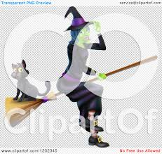 cartoon of a green halloween witch tipping her hat and flying with