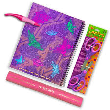 fancy butterfly left handed wide ruled notebook with lefty ruler