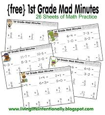 math worksheets 1st grade mad minutes math practice free