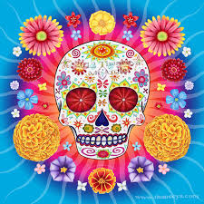 sugar skull colorful day of the dead by thaneeya mcardle