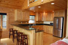 stunning brown color hickory kitchen cabinets with high double
