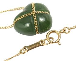 jade gold necklace images Tiffany co vintage 18k yellow gold green jade heart necklace jpg