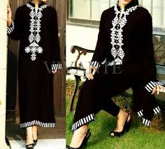 pakistani black and white dress designs for girls