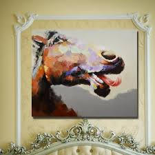 funny animal face oil painting decorative horse head wall hanging