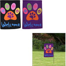Flags And Things Welcome Purple Paw Garden Flag The Animal Rescue Site