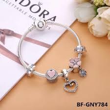 love charm bracelet images Pandora pink flower heart love charm bracelet jpg